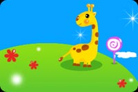 Baby Giraffe On The Candy Hill Background