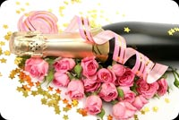 Bottle Of Champagne With Roses Background