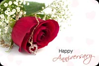 Happy Anniversary, Red Rose, Heart Necklace Background