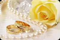 Pearl Necklace, Yellow Rose & Gold Rings Wedding Anniversary Background