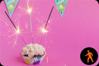 Animated Birthday Cupcake With Sparklers Background