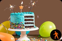 Animated Birthday Cake Balloons Candle & Sparklers Background