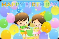 Cute Kids Happy Birthday Background