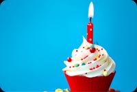 Birthday email backgrounds. Red Candle & Cup Cake