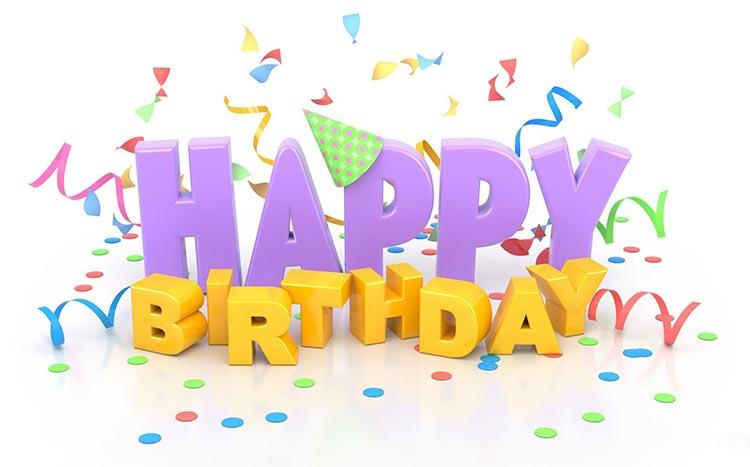 Birthday Email Stationery (stationary): Happy Birthday 3D Text