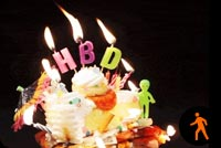 Birthday Cake Burning Candles Background