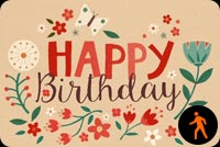 Birthday Card Floral & Butterfly Background