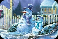 Season's Greetings Snowman Background