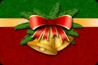 Christmas Bells & Red Bow Background