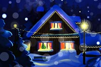 Snowy Christmas Night Background