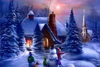 Winter Country House & Snowman Background