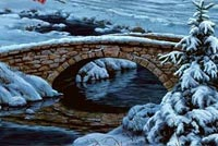 Christmas email backgrounds. Small Winter Bridge
