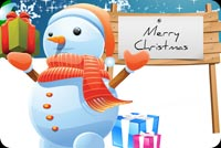 Snowman Merry Christmas & Santa Background
