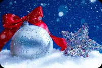 Chrismas Silver Bell & Star Background
