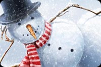 Christmas email backgrounds. Snowman Postcard