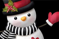 Red Back & White Snowman Background