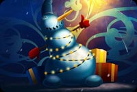 Snowman Sparkler & Gifts Background