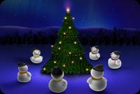 Snowmen Around Christmas Tree Background