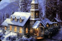 Christmas Village Snow Background