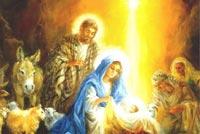 Faith, Hope, Peace On Christmas Background
