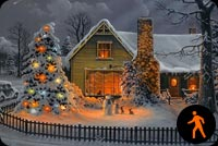 Warm Christmas House Background