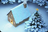 Snow Christmas House Background