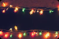 Christmas Lights Wooden Table Background