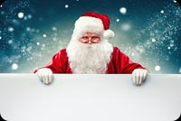 Smiling Santa Claus Blank Sign Background