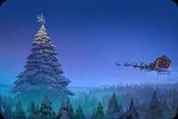 Santa Claus Reindeer Sleigh Flying Christmas Tree Background