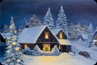 Christmas House Winter Season Background