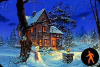 Animated Warm Christmas House Background