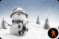 Animated Snowman With Snow Effect Background