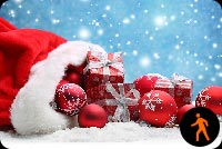 Animated Santa Hat Gifts, Ornaments With Snow Effect Background