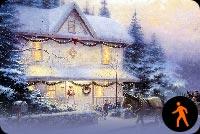 Animated Christmas House Snowing Effect Background
