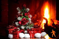 Animated Christmas Gifts Fireplace Background