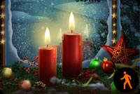 Animated Christmas Ornaments, Stars & Candle Background