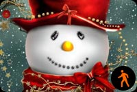 Animated Cute Christmas Snowman - Snowing Effect Background