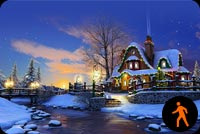 Animated Christmas House Smoke Chimney & Water Drop Background