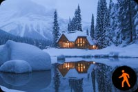 Animated Winter House Mountain Lake Background