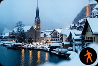 Lake Hallstatt Winter Time Background