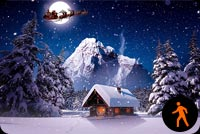 Animated Santa Claus Sleigh, Winter House Snowing Background