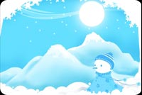 Merry Christmas Blue Snowman Background