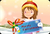 Cute Girl & Merry Christmas Sign Background