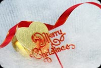 Merry Christmas Heart & Ribbon Background