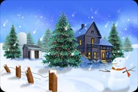 Christmas Trees, House, Snowman Background