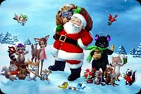 Christmas email backgrounds. Santa Claus With His Animals