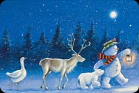 Snowman & Friends In Winter Night Background