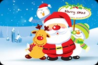 Cute Santa Claus & His Buddies Background