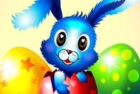 Big Eyes Blue Bunny Background