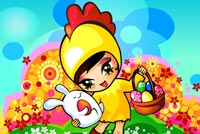 Chicken Costume Girl Easter Basket Background